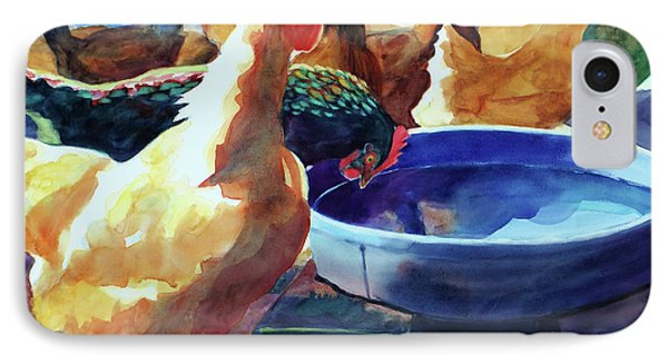 The Henhouse Watering Hole IPhone Case by Kathy Braud