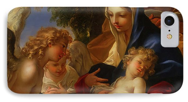 IPhone Case featuring the painting The Holy Family With Angels by Seastiano Ricci