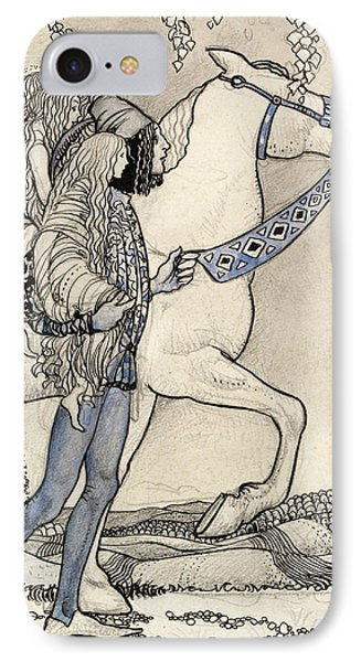 The Horse He Led At The Bit IPhone Case by John Bauer