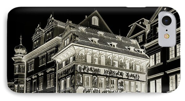 IPhone Case featuring the photograph The House At The Minute With Graffiti. Black by Jenny Rainbow