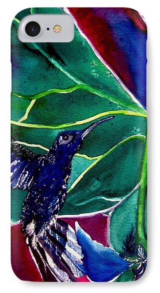 IPhone Case featuring the painting The Hummingbird And The Trillium by Lil Taylor