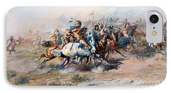 The Indian Encirclement Of General Custer At The Battle Of The Little Big Horn IPhone Case by Charles Marion Russell