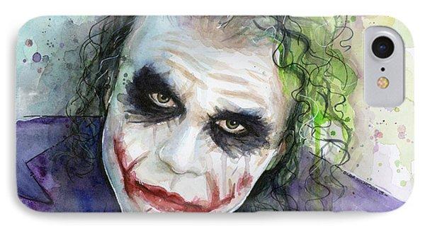The iPhone 7 Case - The Joker Watercolor by Olga Shvartsur