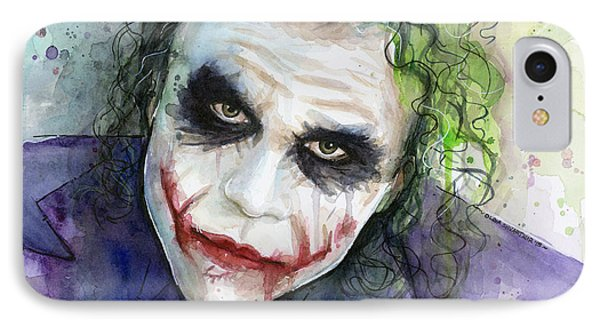 The Joker Watercolor IPhone 7 Case by Olga Shvartsur