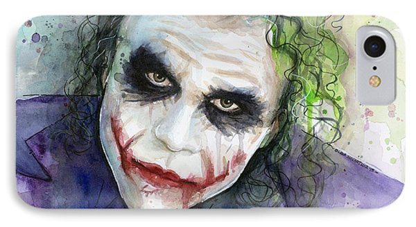The Joker Watercolor IPhone Case by Olga Shvartsur