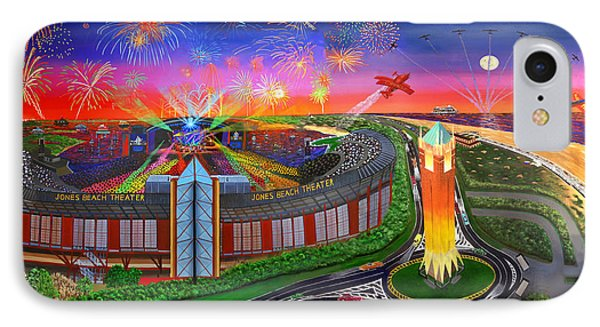 The Jones Beach Theatre With Fireworks IPhone Case by Bonnie Siracusa