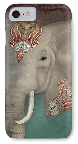 IPhone Case featuring the painting The King - African Bull Elephant - Kashmir Paisley Tribal Pattern Safari Home Decor by Audrey Jeanne Roberts