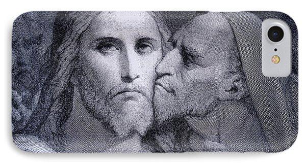The Kiss. Judas Iscariot Kisses Jesus IPhone Case by Vintage Design Pics