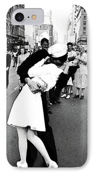 The Kiss,  V J Day Times Square Watercolor Ink IPhone Case