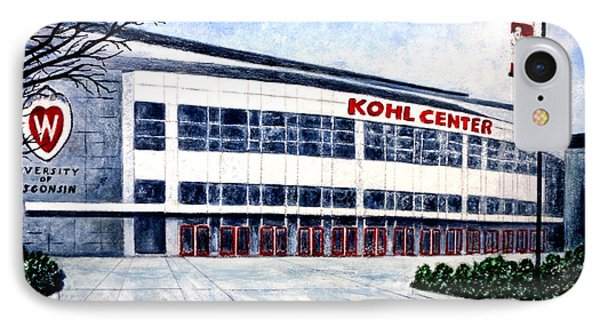 IPhone Case featuring the painting The Kohl Center by Thomas Kuchenbecker