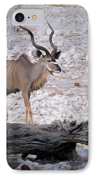 IPhone Case featuring the digital art The Kudu In Namibia by Ernie Echols