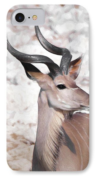 IPhone Case featuring the digital art The Kudu Portrait by Ernie Echols