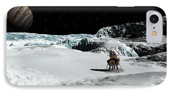 IPhone Case featuring the digital art The Lander Ulysses On Europa by David Robinson