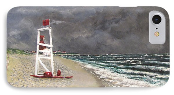 IPhone Case featuring the painting The Last Lifeguard by Jack Skinner