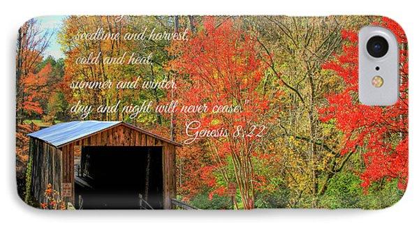The Law Of The Harvest Elder Mill Covered Bridge Scripture Art IPhone Case