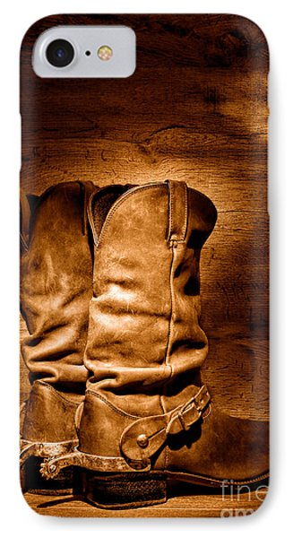The Legendary Cowboy Boots - Sepia IPhone Case by Olivier Le Queinec