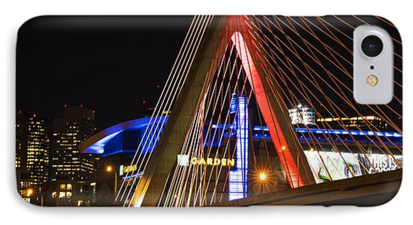The Lenny Zakim Bridge Lit Up In Red Td Garden IPhone Case by Toby McGuire