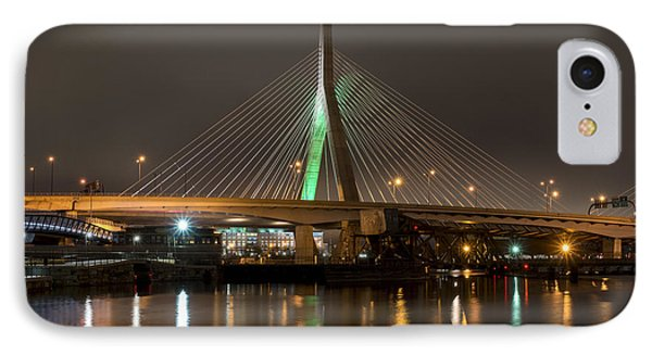 The Leonard P Zakim Bridge Lit Up In Green For St Patrick's Day Reflection IPhone Case