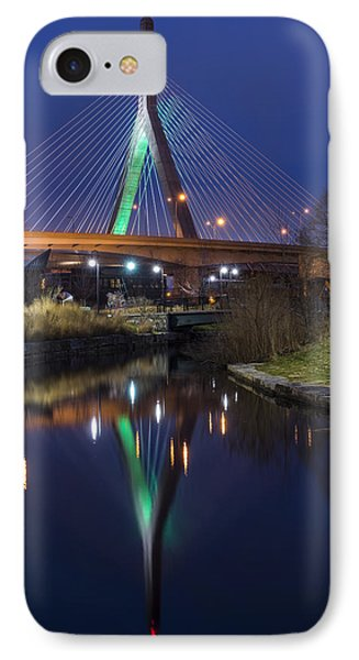 The Leonard P Zakim Bridge Lit Up In Green For St Patrick's Day IPhone Case by Toby McGuire