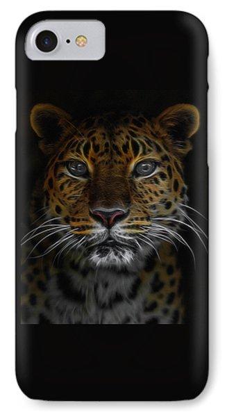 The Leopard Digital Art IPhone Case by Ernie Echols