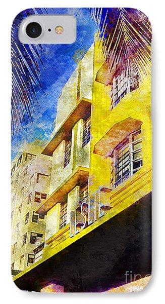 The Leslie Hotel South Beach IPhone Case by Jon Neidert