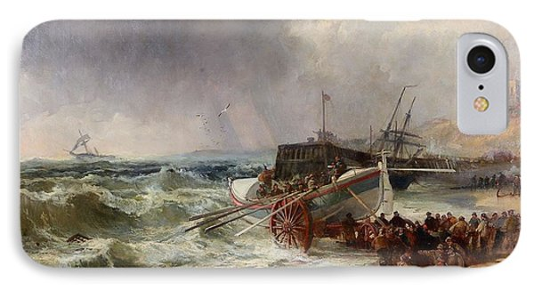 The Lifeboat Heading Out In Rough Seas IPhone Case by Robert Ernest