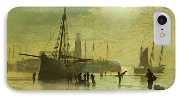 The Lighthouse At Scarborough IPhone Case by John Atkinson Grimshaw