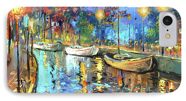 IPhone Case featuring the painting The Lights Of The Sleeping City by Dmitry Spiros