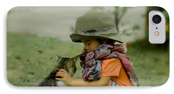 The Little Girl And Her Cat IPhone Case by Michelle Meenawong