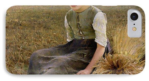 Rural Scenes iPhone 7 Case - The Little Gleaner by Hugo Salmson
