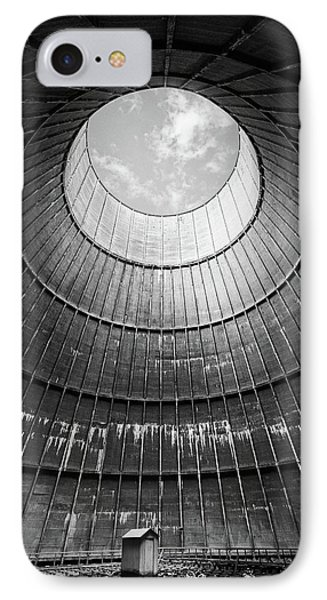 the little house inside the cooling tower BW IPhone Case by Dirk Ercken