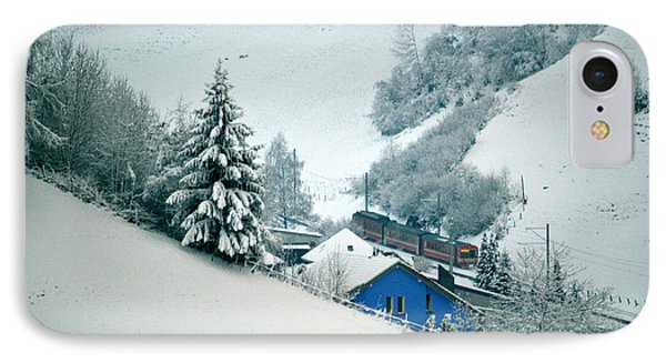 IPhone Case featuring the photograph The Little Red Train - Winter In Switzerland  by Susanne Van Hulst
