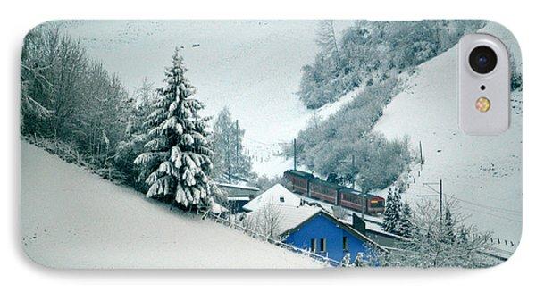 The Little Red Train - Winter In Switzerland  IPhone Case by Susanne Van Hulst