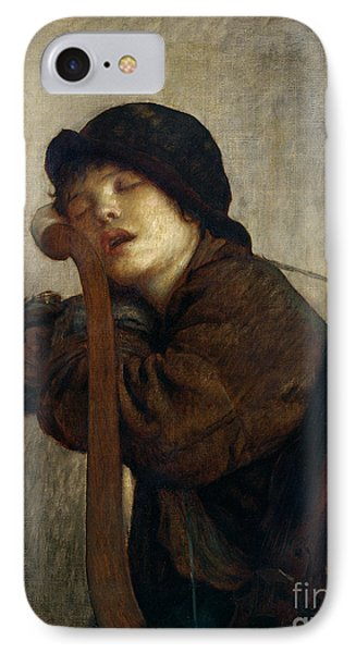 The Little Violinist Sleeping IPhone Case by Antoine Auguste Ernest Hebert