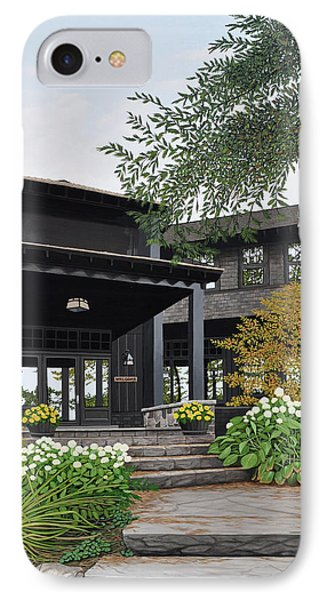 IPhone Case featuring the painting The Lodge At Fawn Island by Kenneth M Kirsch