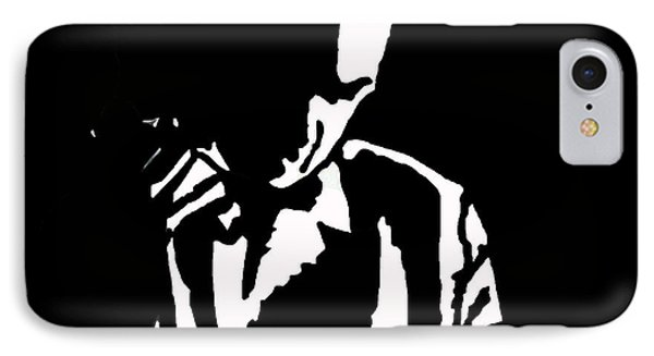IPhone Case featuring the drawing The Lonely Jazz Player by Robert Margetts