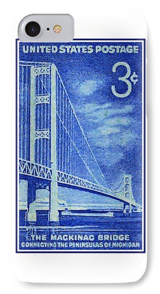 The Mackinac Bridge Stamp IPhone Case by Lanjee Chee