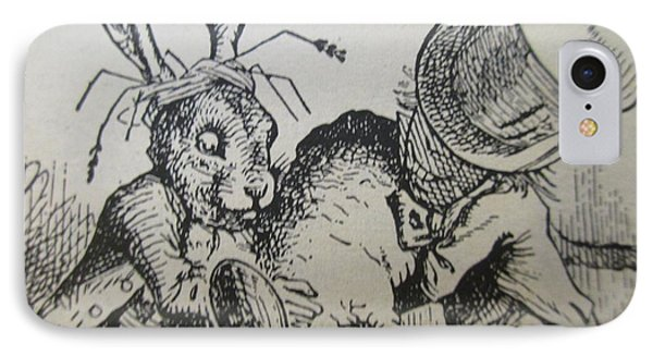 The Mad Hatter And The March Hare Try To Put The Dormouse Into The Teapot IPhone Case by David Lovins