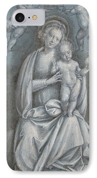 The Madonna And Child Crowned By Two Angels IPhone Case