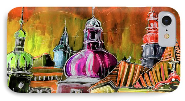 The Magical Rooftops Of Prague 01 IPhone Case by Miki De Goodaboom