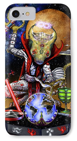 IPhone Case featuring the digital art The Magician 78 Tarot Astral Card by Stanley Morrison