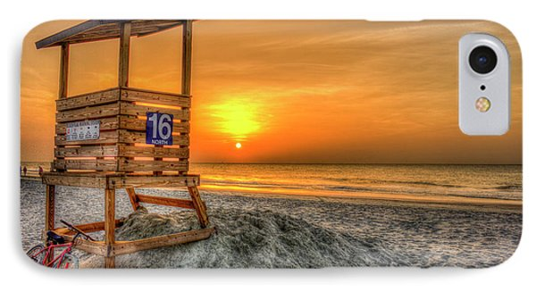 IPhone Case featuring the photograph The Main Attraction Tybee Island Sunrise Lifeguard Stand Beach Art by Reid Callaway