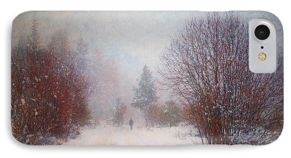 The Man In The Snowstorm Phone Case by Tara Turner