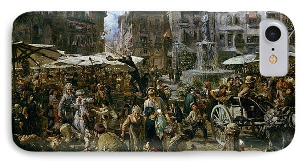 The Market Of Verona IPhone Case by Adolph Friedrich Erdmann von Menzel