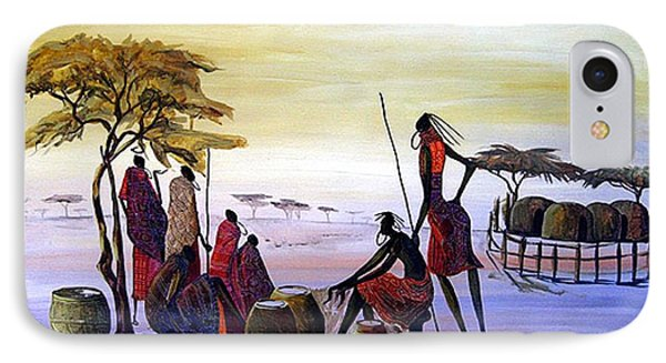 The Masai Villagers IPhone Case by William Mutua
