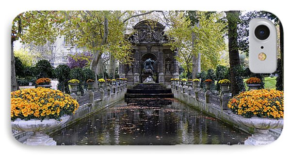 The Medici Fountain At The Jardin Du Luxembourg In Paris France. IPhone Case by Richard Rosenshein