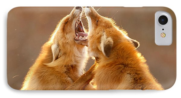 The Meeting _ Red Fox Fight IPhone Case by Roeselien Raimond