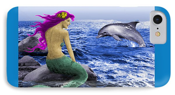 The Mermaid And The Dolphin IPhone Case