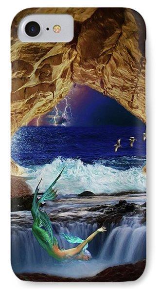 IPhone Case featuring the digital art The Mermaids Secret Lair by John Haldane