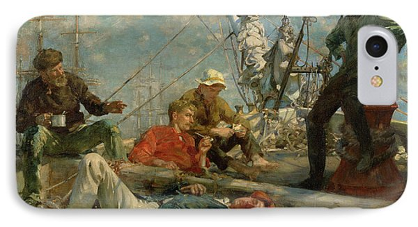 The Midday Rest Sailors Yarning Phone Case by Henry Scott Tuke
